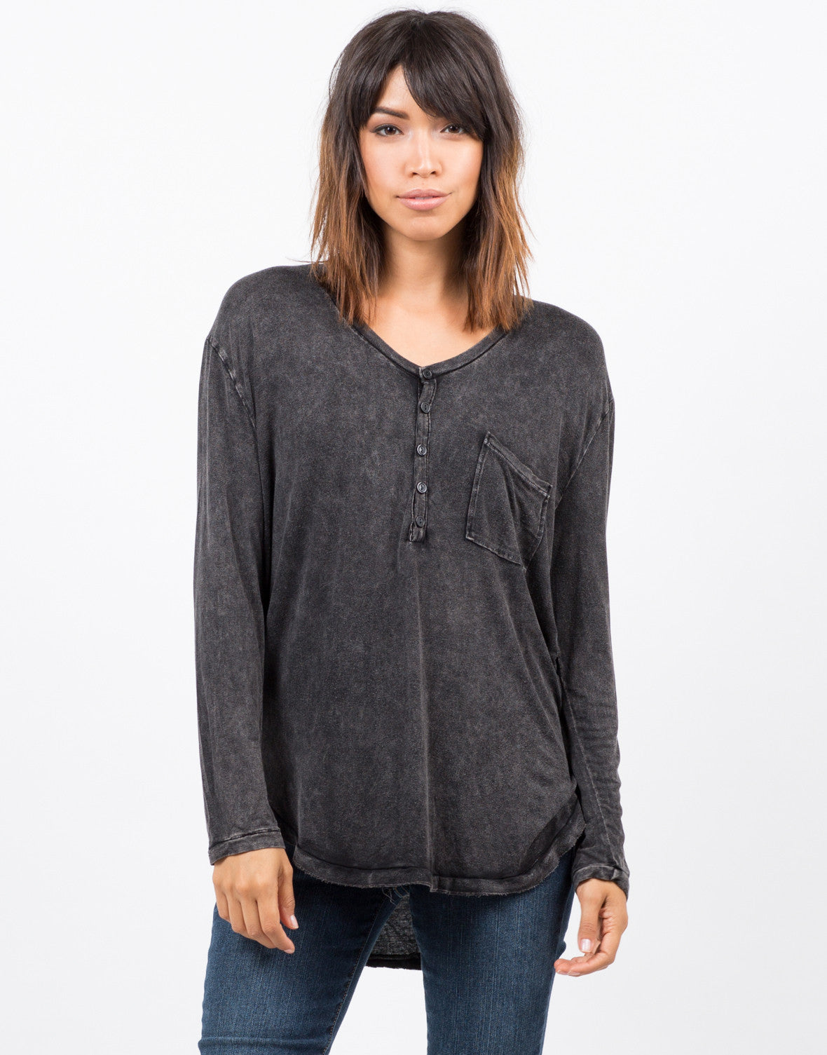 Front view of Basic Long Sleeve Pocket Top