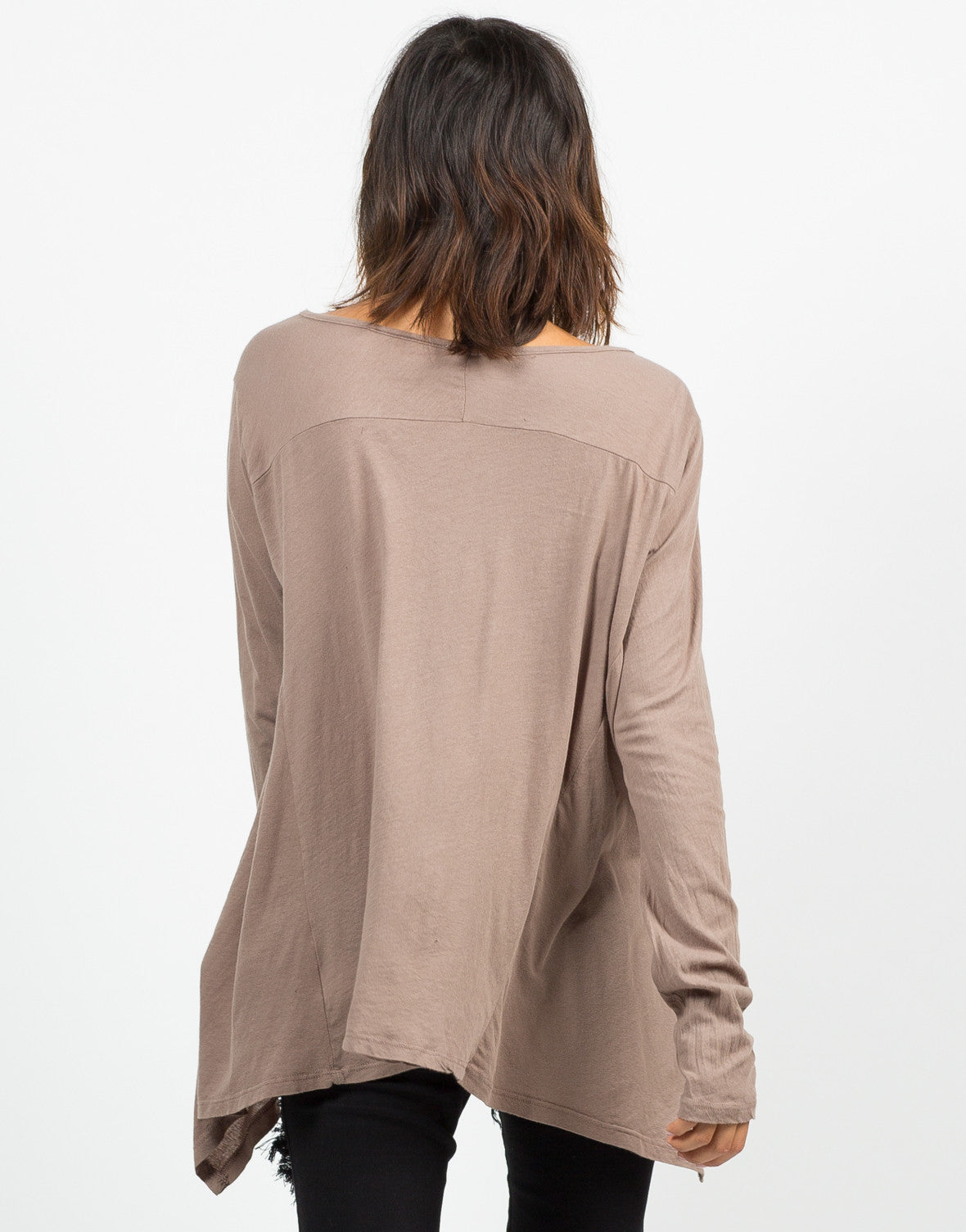Back View of Basic Long Sleeve Tee