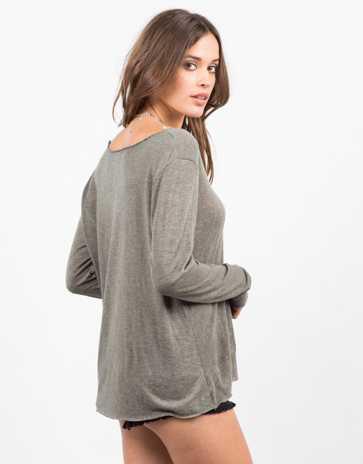 Back View of Basic Long Sleeve Top