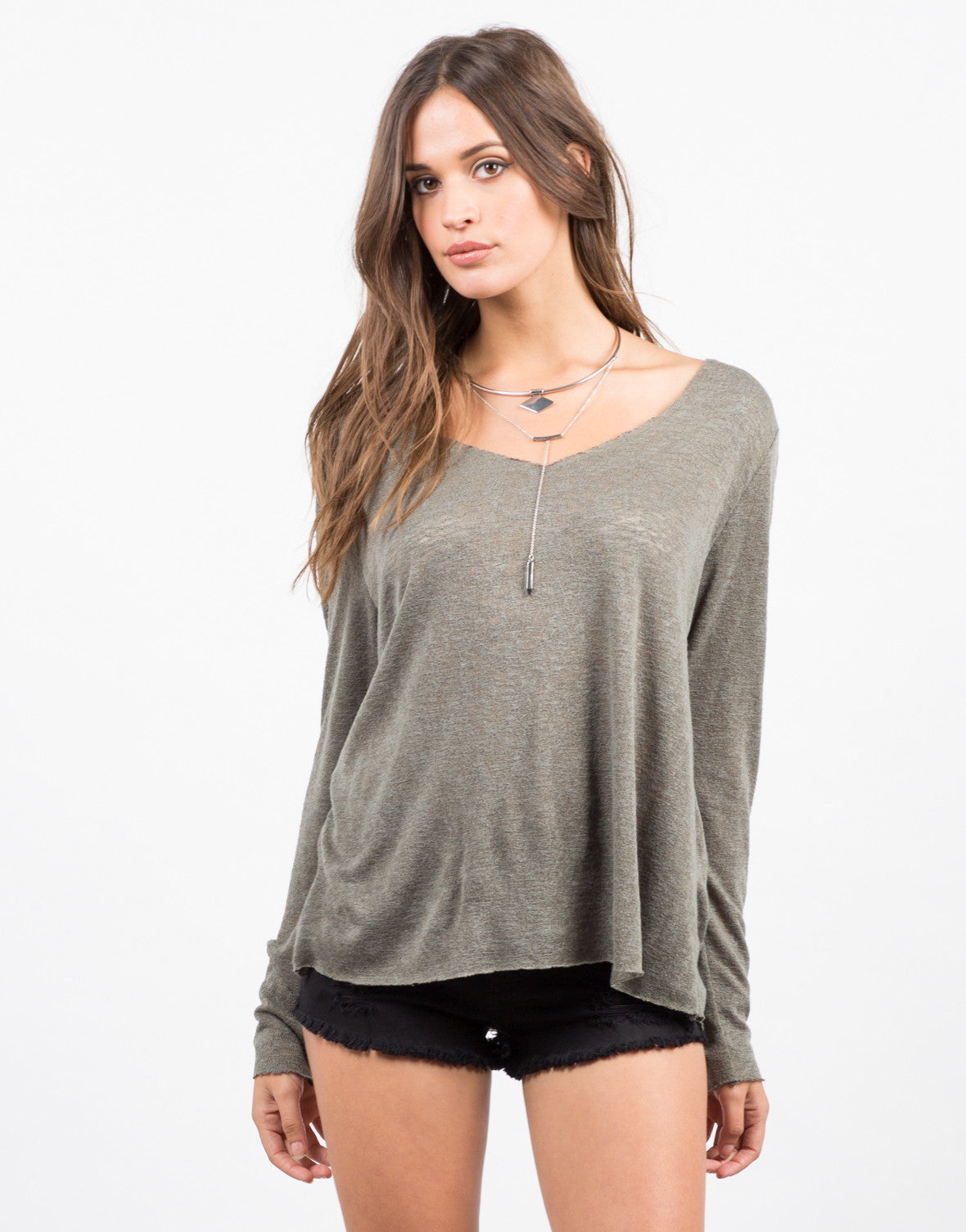 Front View of Basic Long Sleeve Top