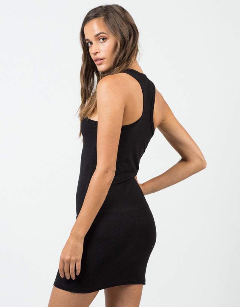 Back View of Basic Racerback Tank Dress - Black