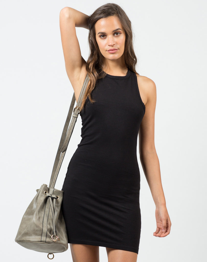 Front View of Basic Racerback Tank Dress - Black