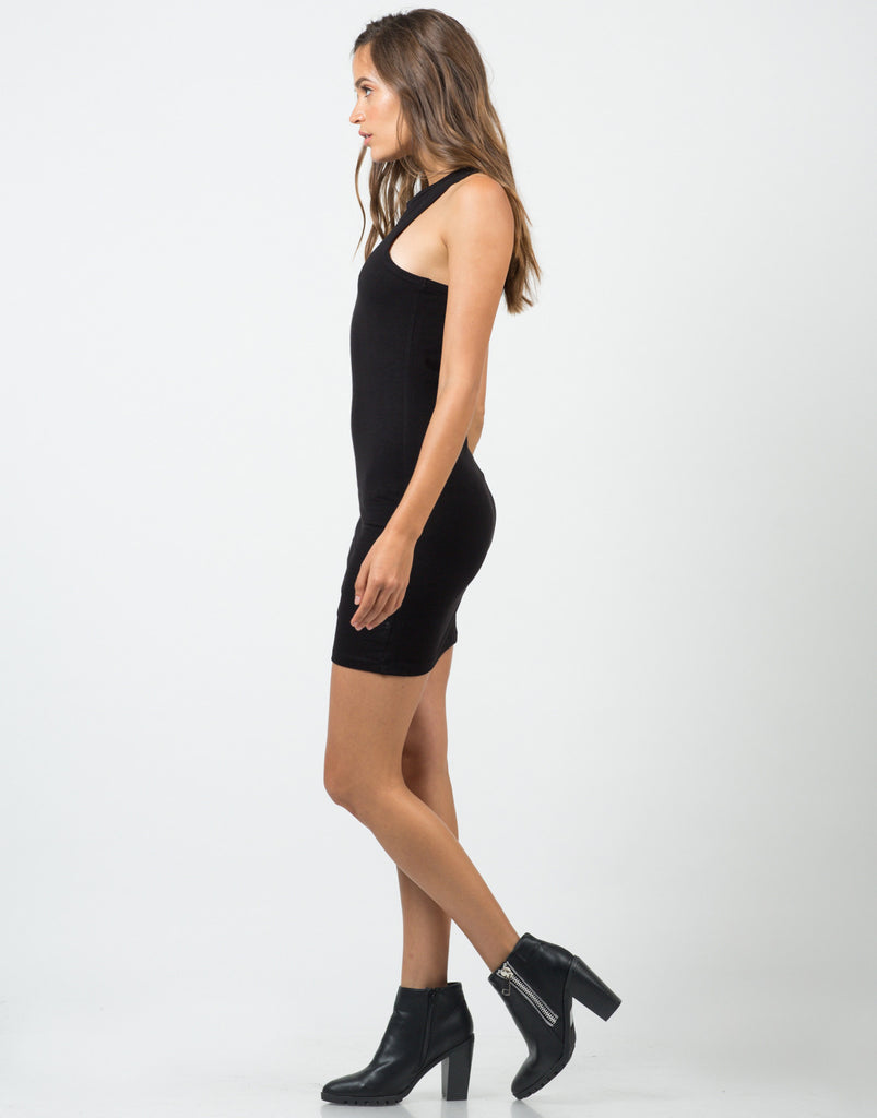 Side View of Basic Racerback Tank Dress - Black