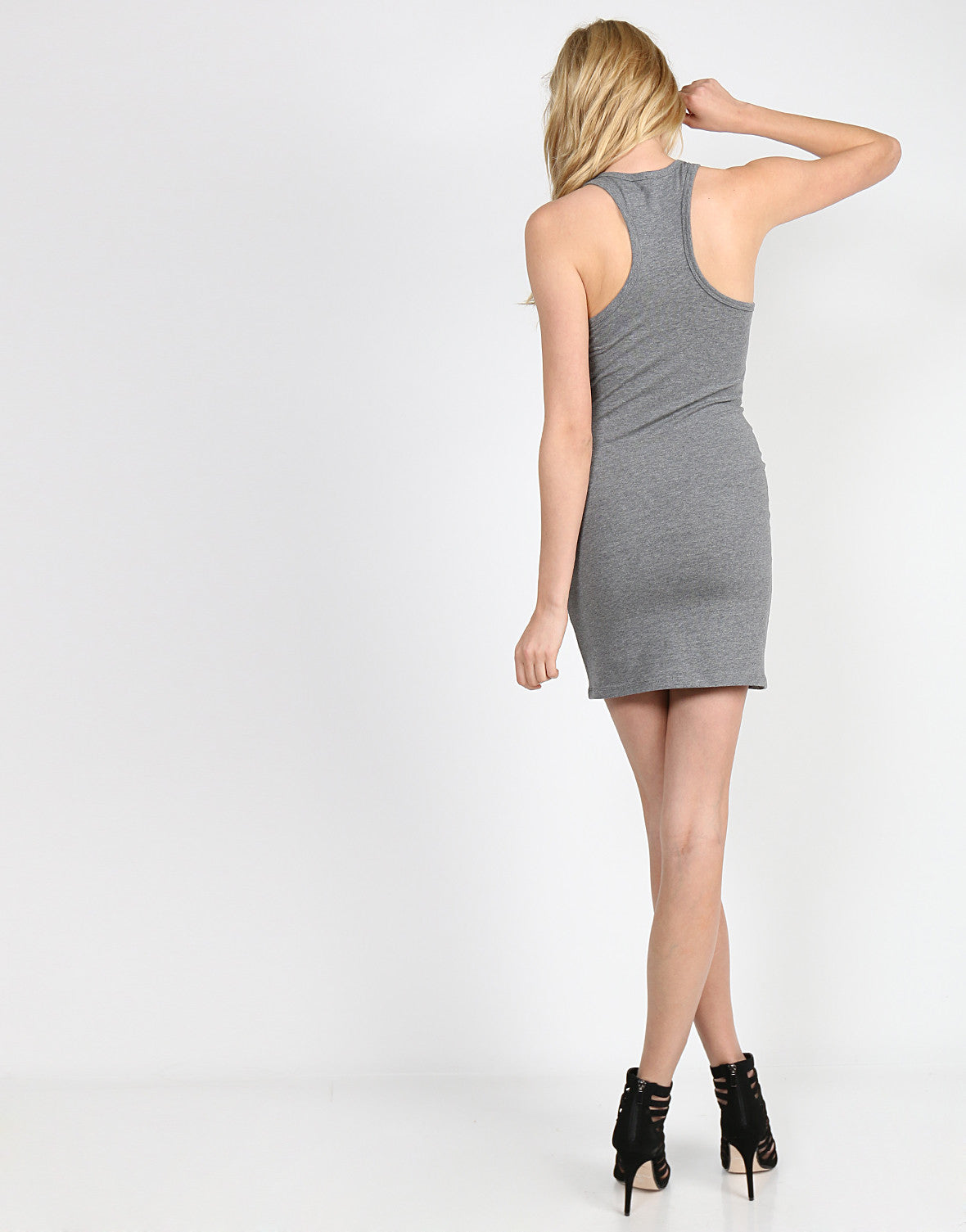 Basic Racer Tank Dress - Gray