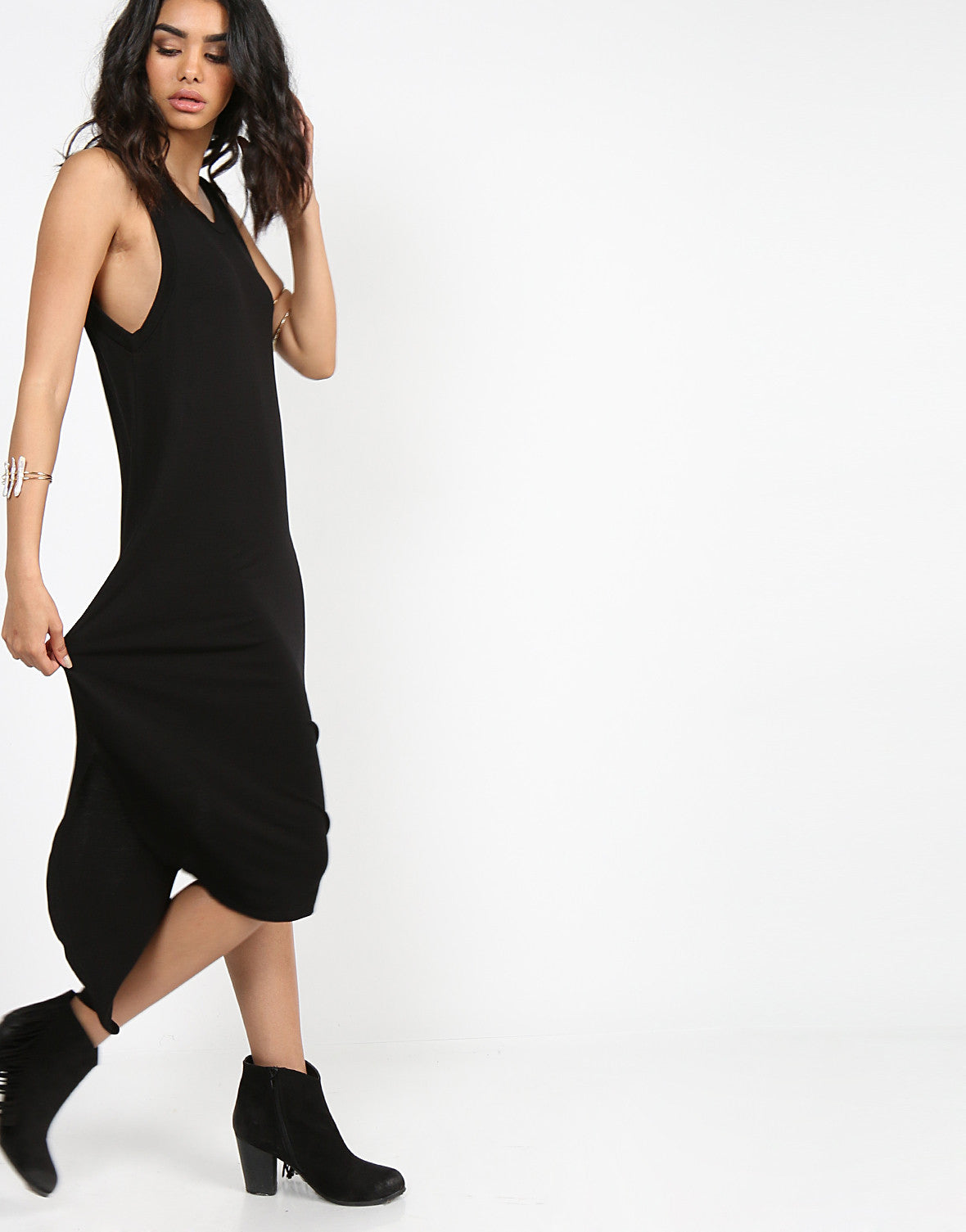 Basic Sleeveless Hi-Low Dress - Black