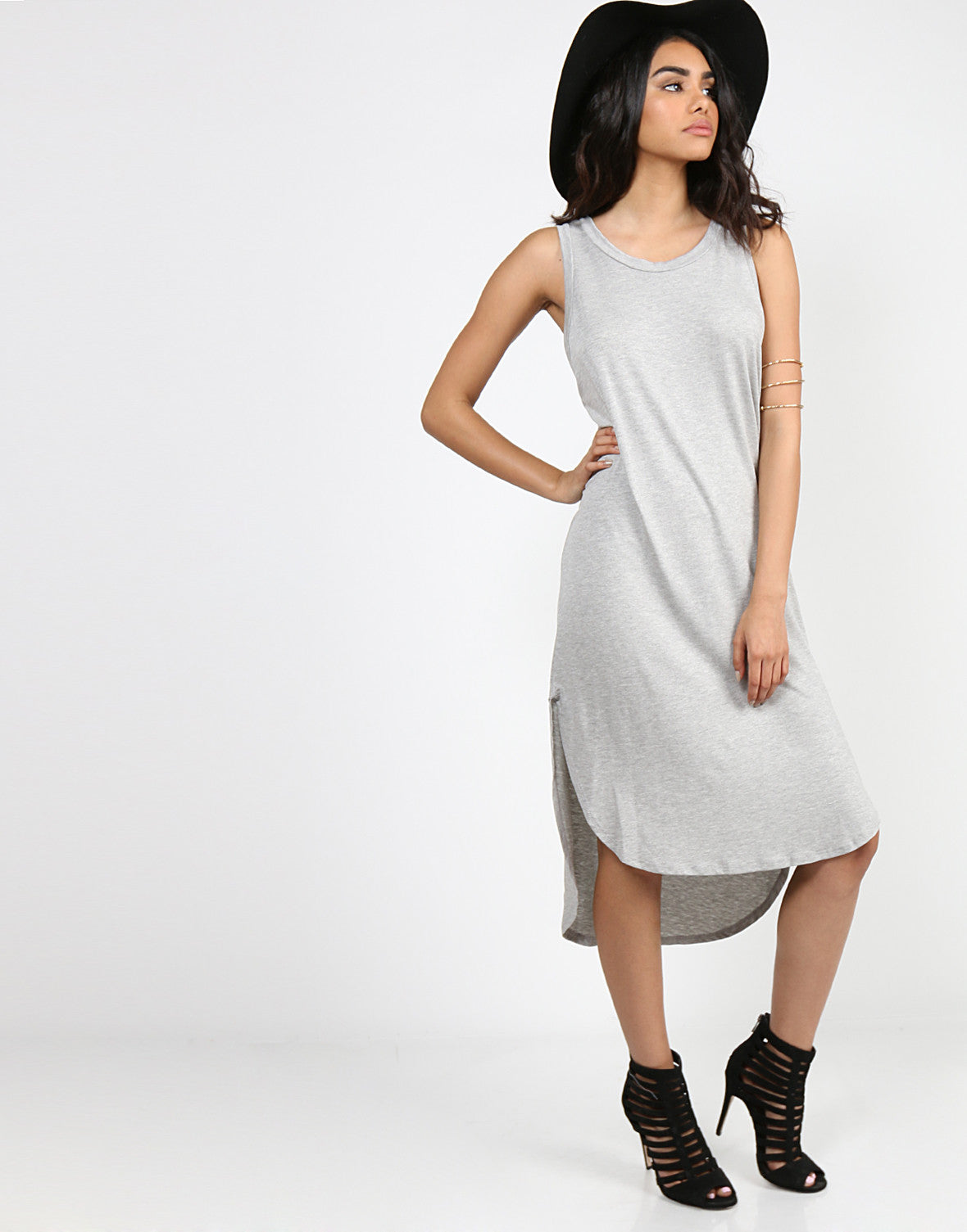 Basic Sleeveless Hi-Low Dress - Heather Gray