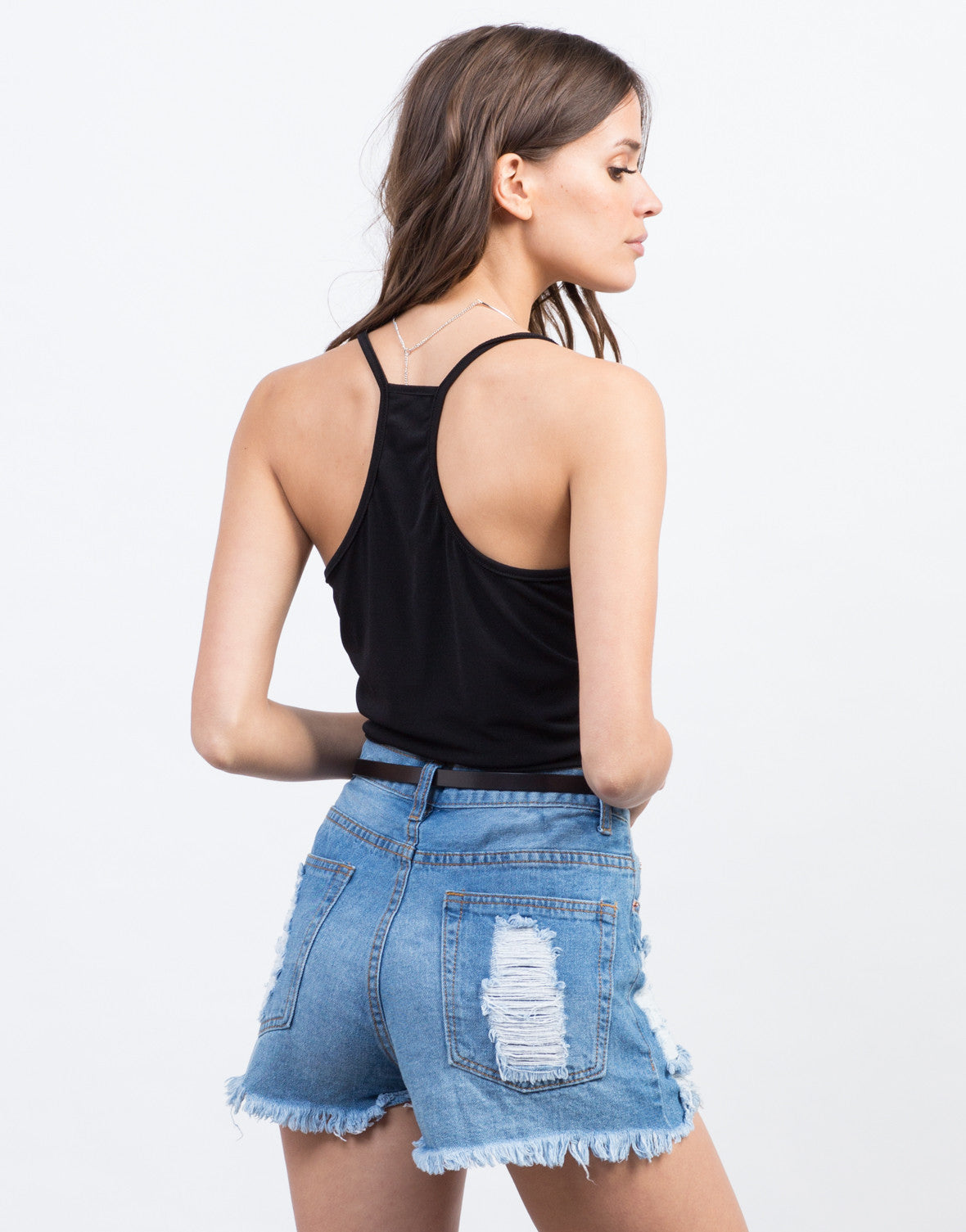 Back View of Basic Stretchy Cropped Cami
