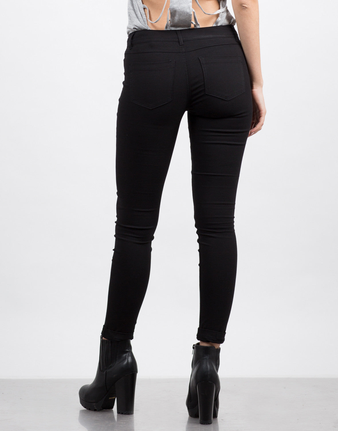 Back View of Basic Stretchy Skinny Pants