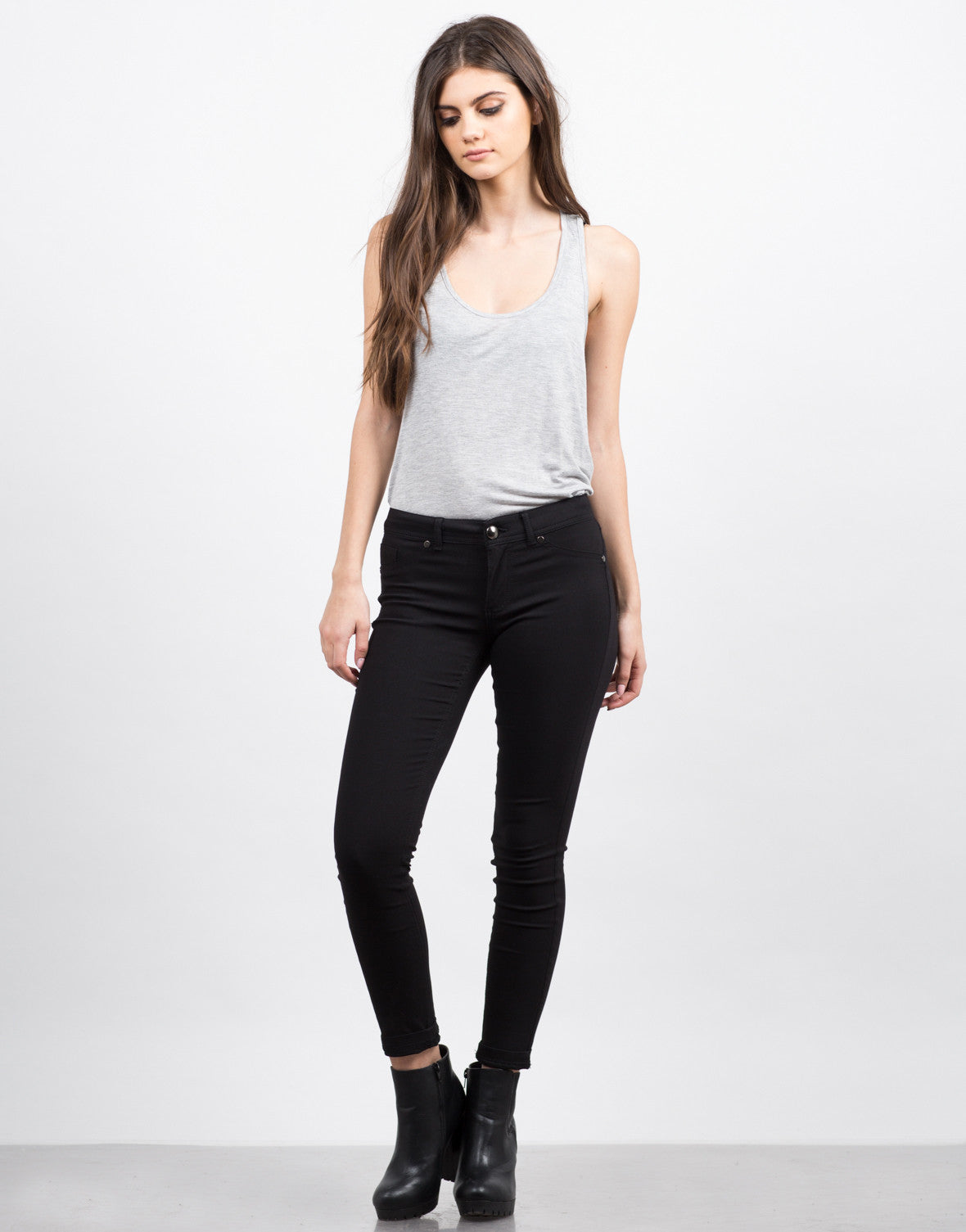 Front View of Basic Stretchy Skinny Pants