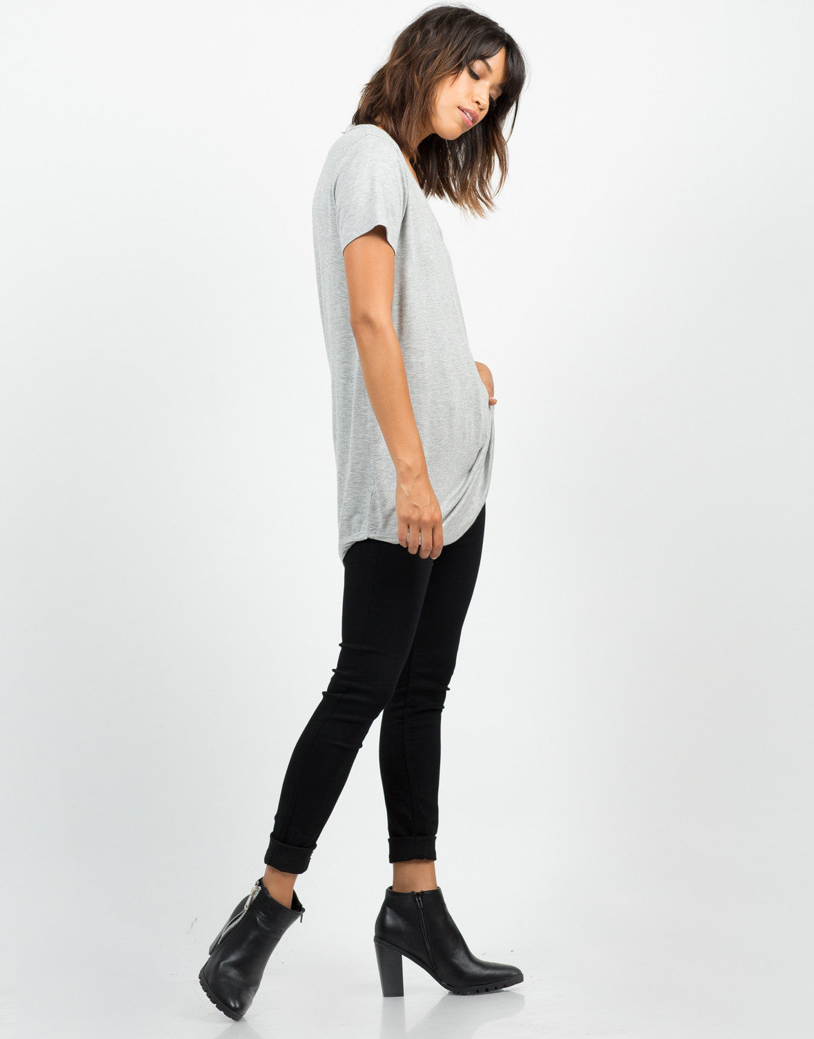 Side View of Basic T-Shirt Tunic