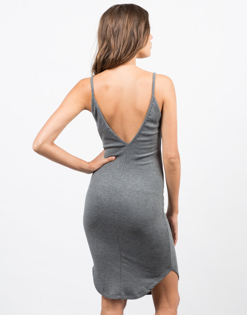Back View of Basic V-Neck Ribbed Dress