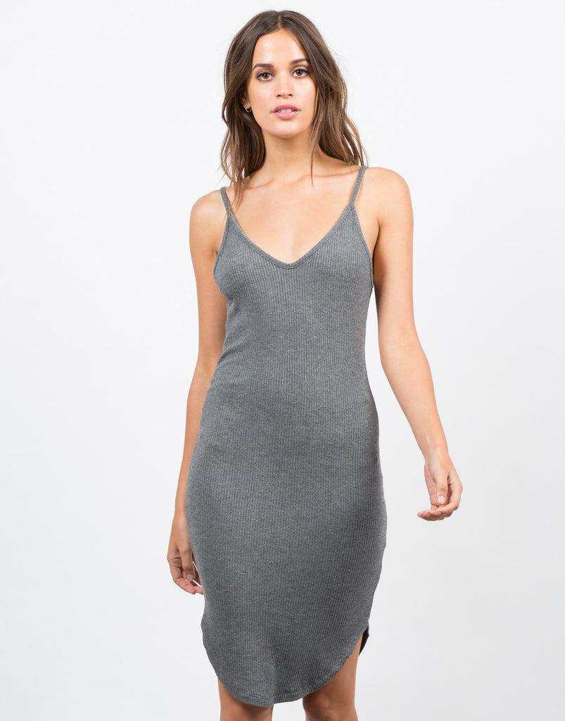 Front View of Basic V-Neck Ribbed Dress