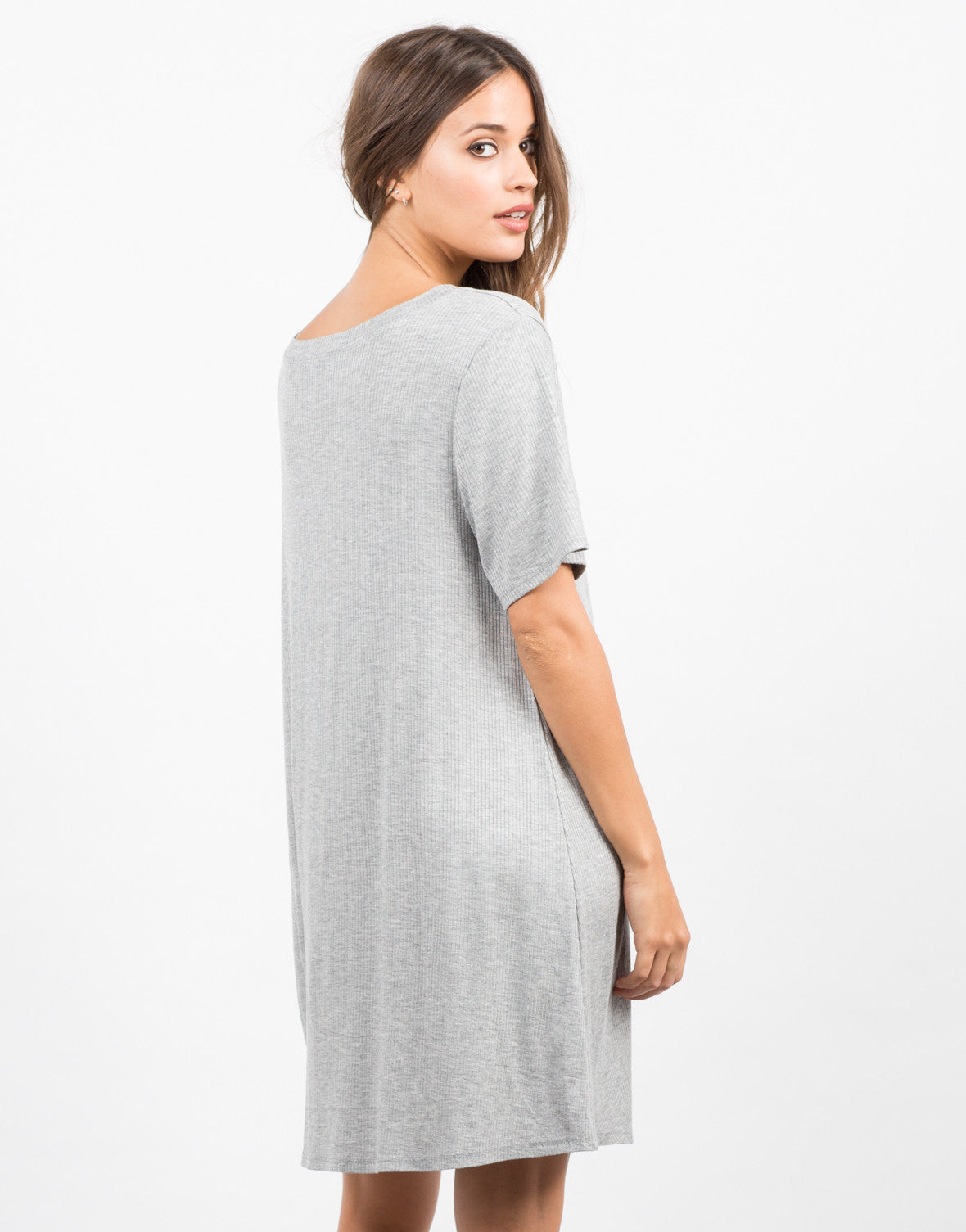 Back View of Basic V-Neck Ribbed Tee Dress