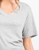Detail of Basic V-Neck Ribbed Tee Dress