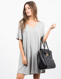 Front View of Basic V-Neck Ribbed Tee Dress