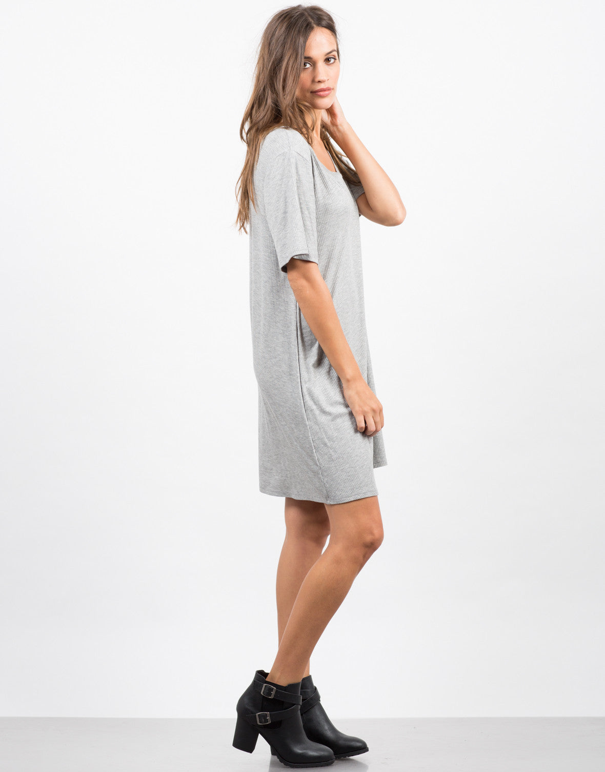 Side View of Basic V-Neck Ribbed Tee Dress