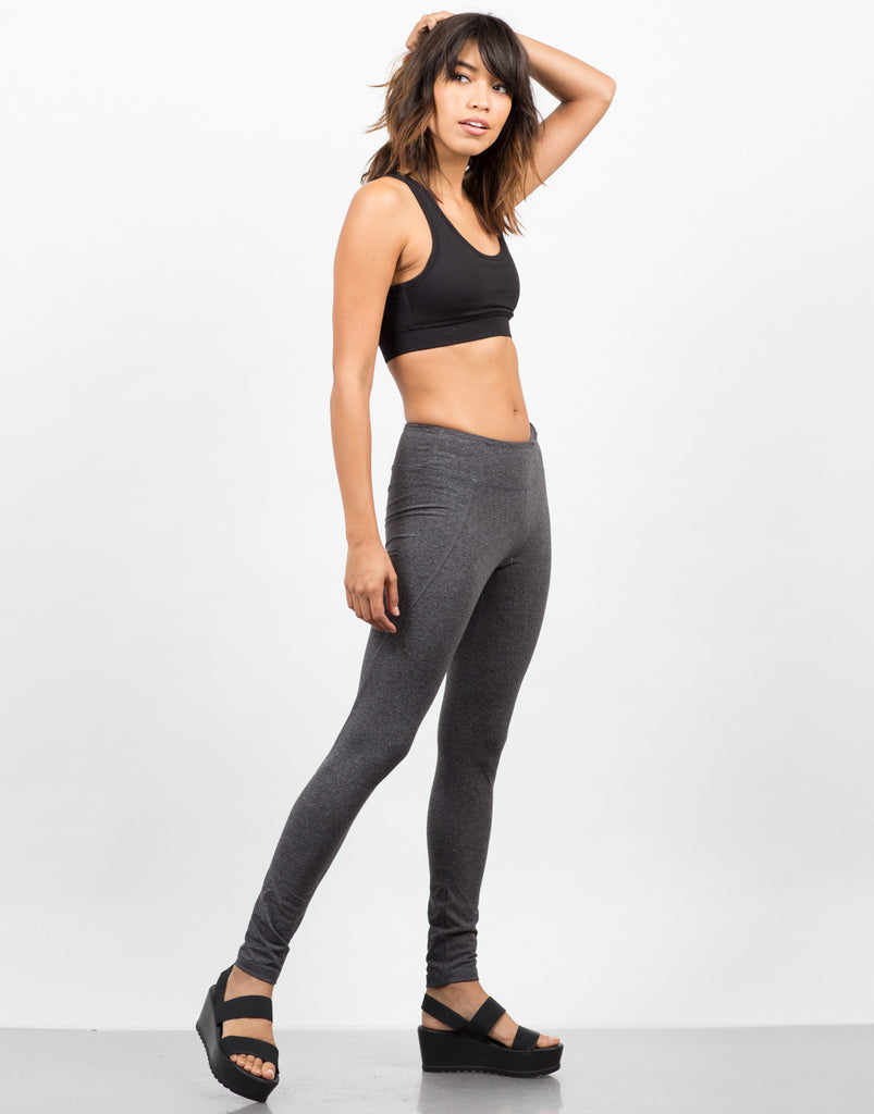 Side View of Basic Workout Leggings
