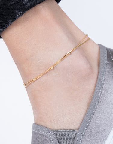 Gold Beaded Around Anklet