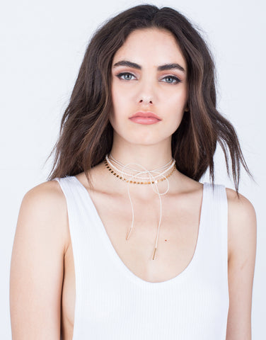 Beaded Bow Choker Set