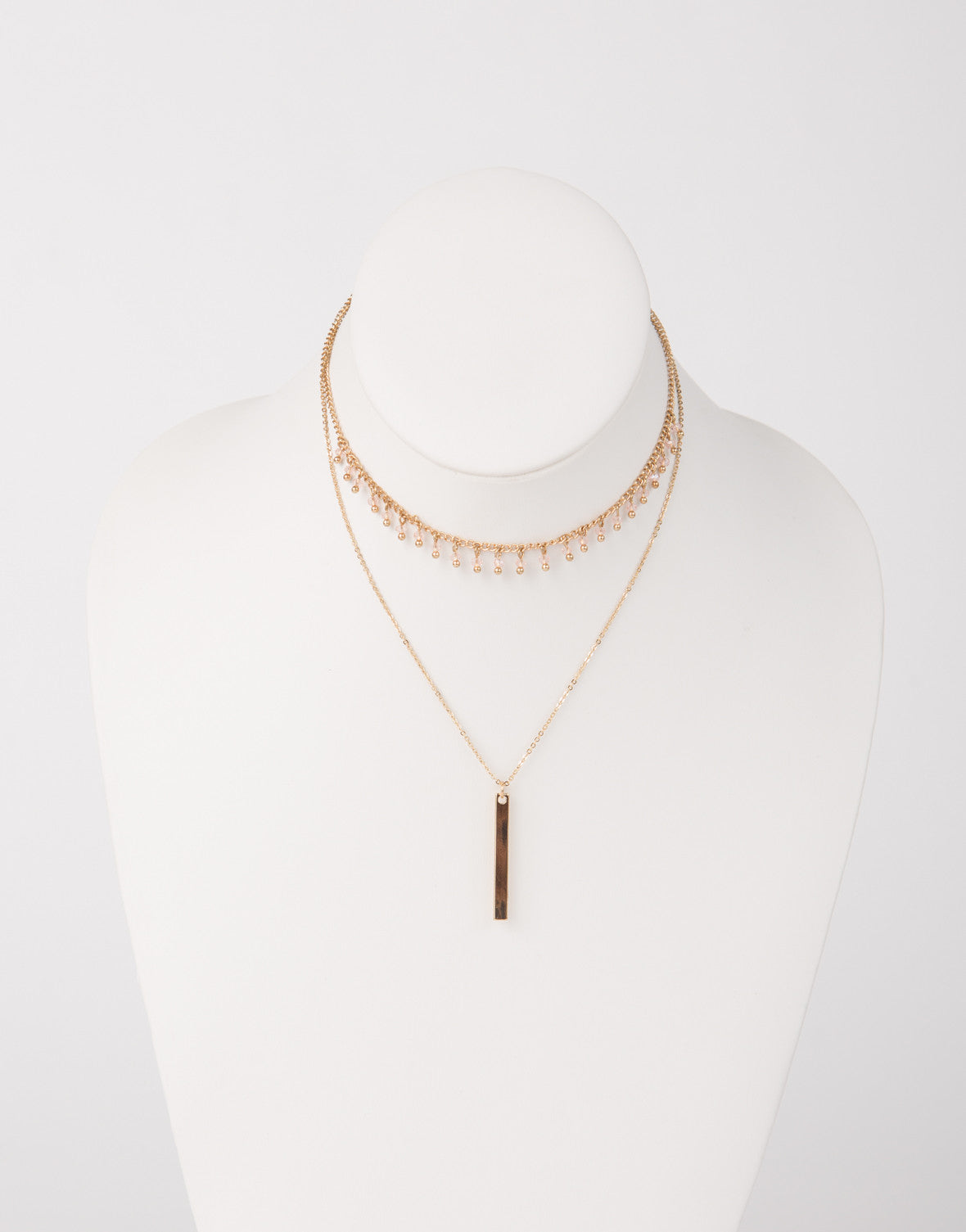 Beaded Drop Bar Choker Necklace