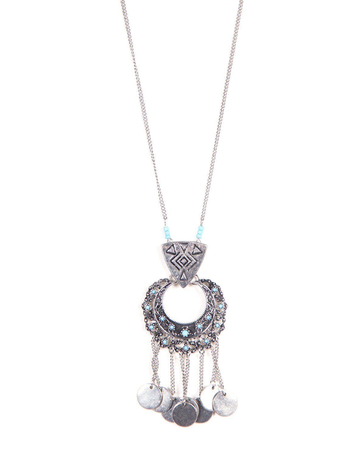 Beaded Medallion Tribal Necklace - Light Blue