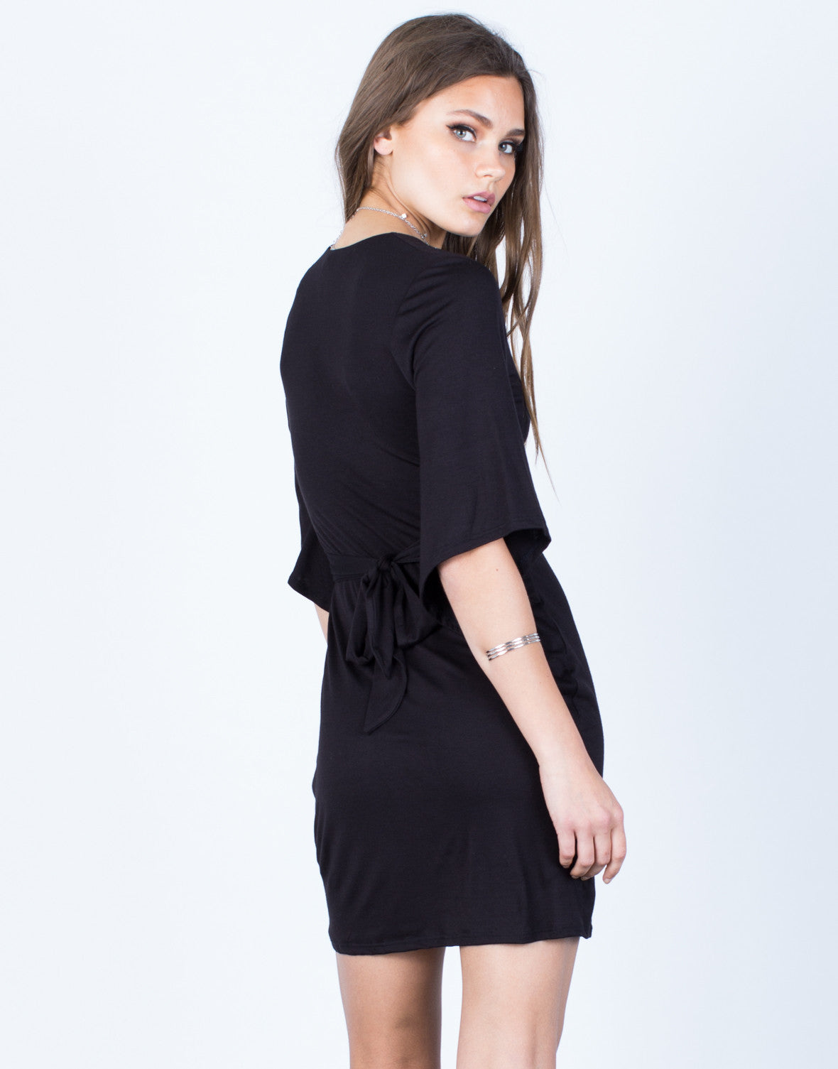 Back View of Bell Sleeve Back Tie Dress