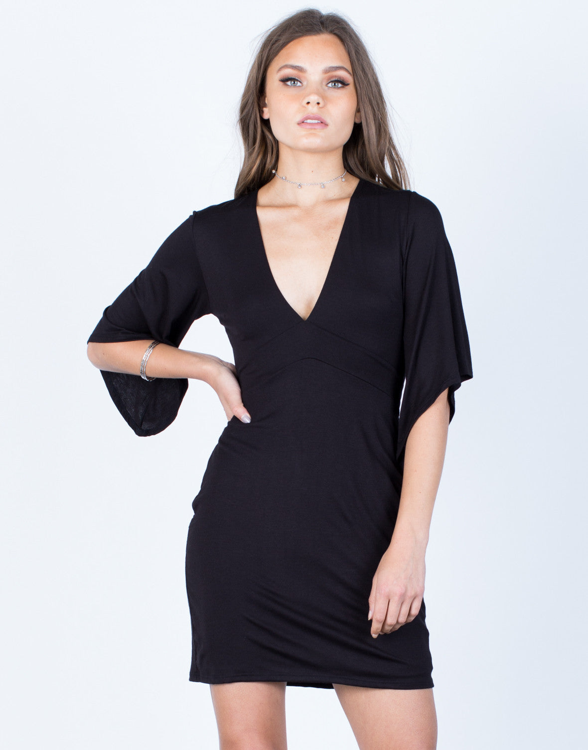 Front View of Bell Sleeve Back Tie Dress