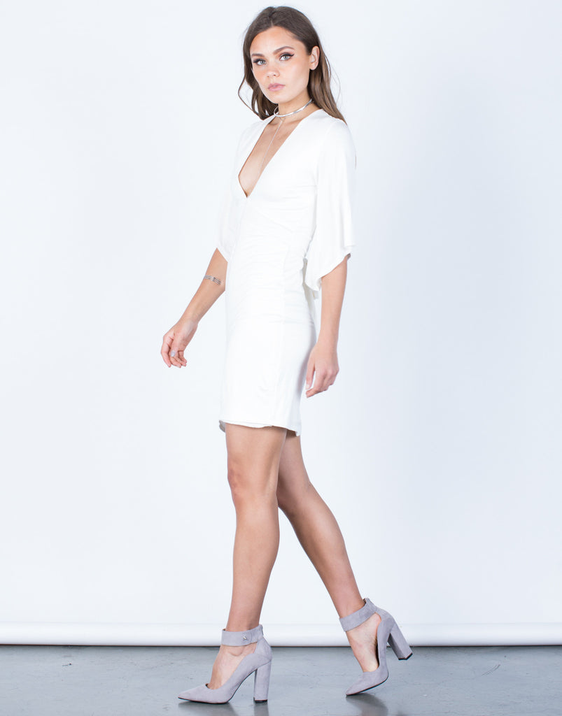 Side View of Bell Sleeve Back Tie Dress