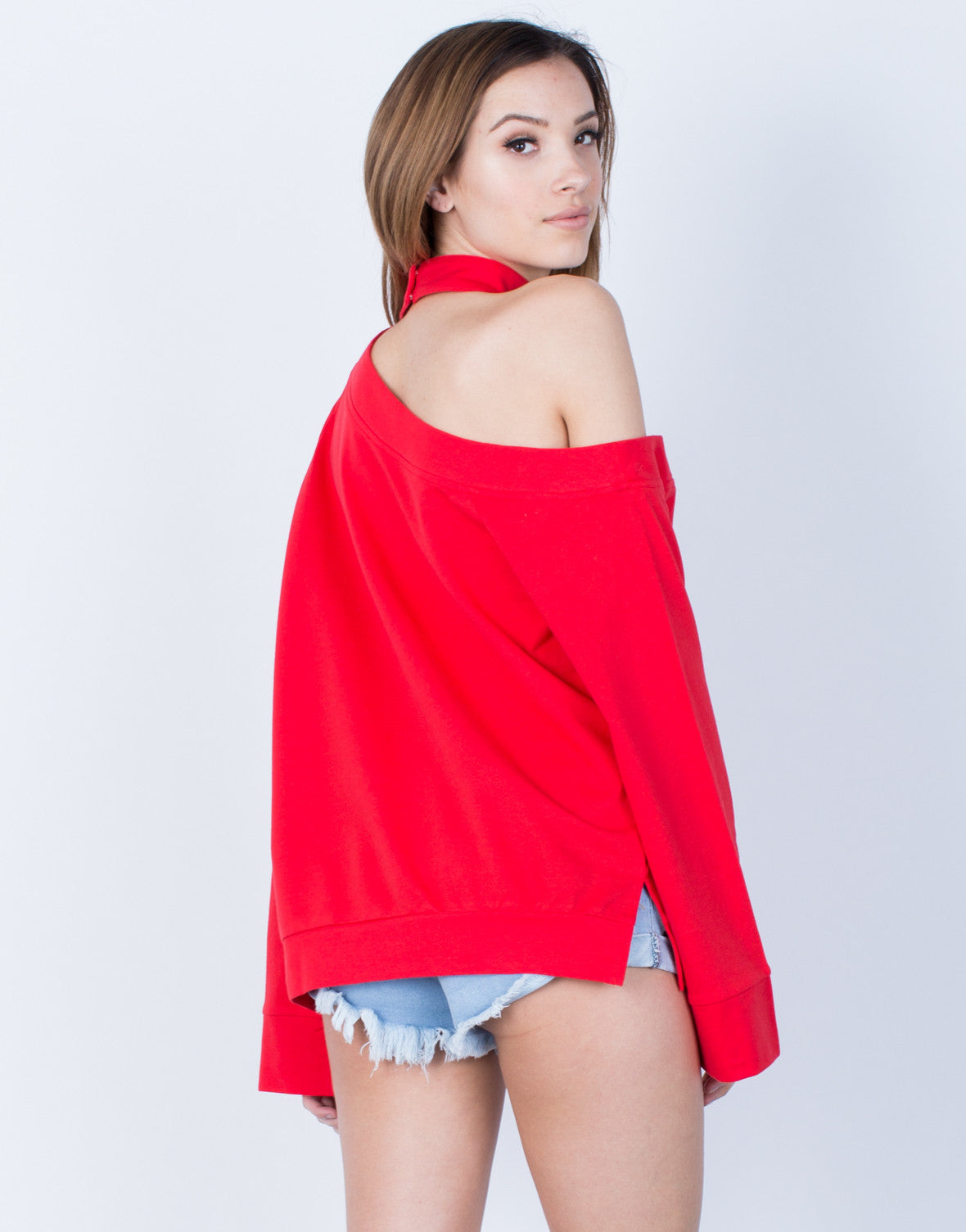 Back View of Bell Sleeve Choker Sweater
