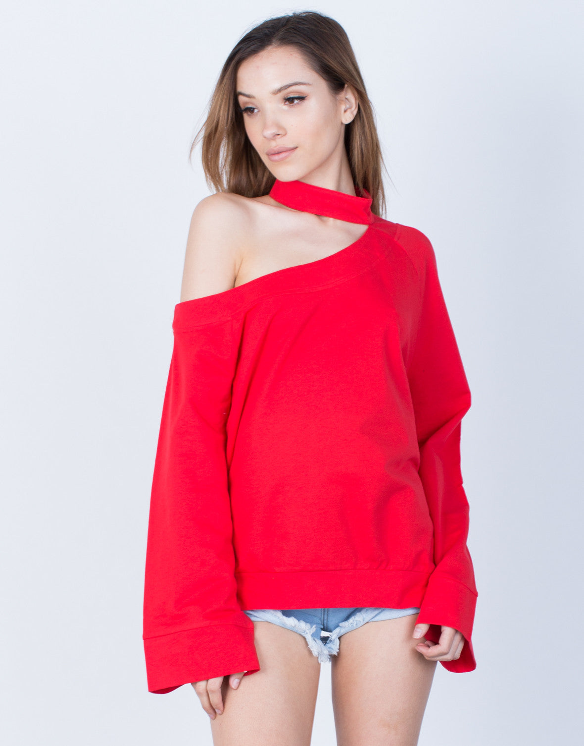 Front View of Bell Sleeve Choker Sweater