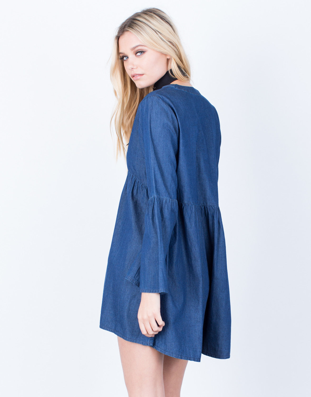 Back View of Bell Sleeve Denim Dress