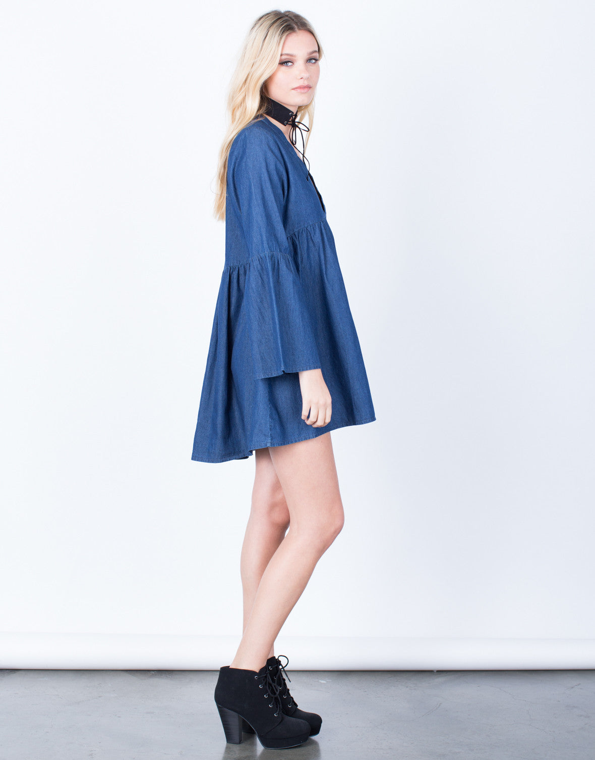Side View of Bell Sleeve Denim Dress