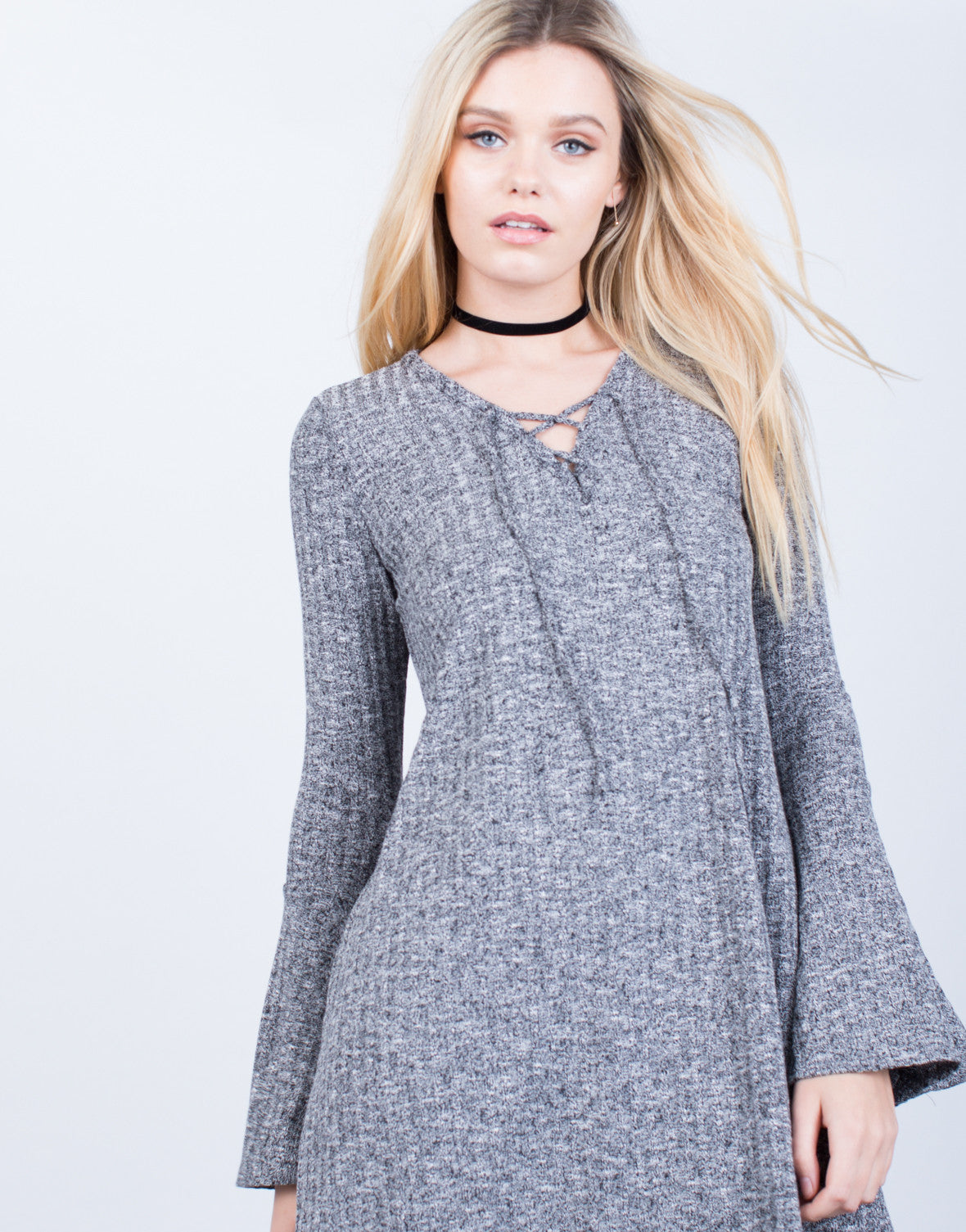 Bell Sleeve Lace-Up Dress