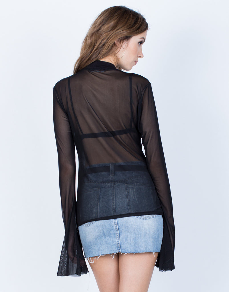 Back View of Bell Sleeve Mesh Top