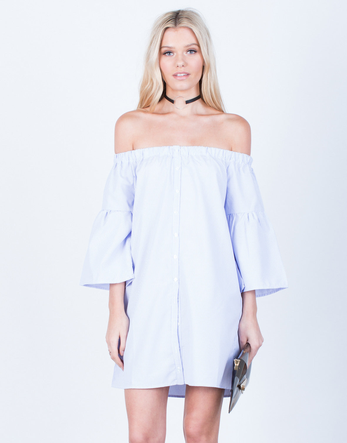 ae1857be8dbc Bell Sleeve Striped Dress - Off the Shoulder Dress - Striped Day ...