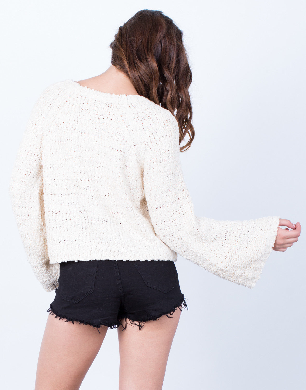 Back View of Bell Sleeve Sweater