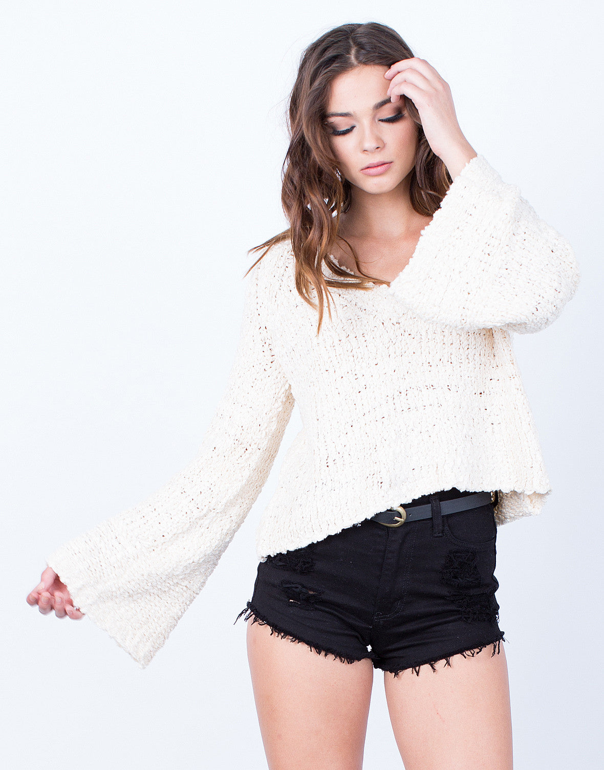Front View of Bell Sleeve Sweater