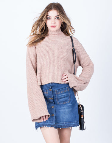 Front View of Bell Sleeve Turtleneck Sweater