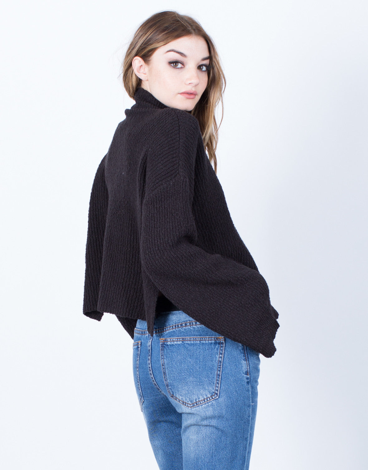 Back View of Bell Sleeve Turtleneck Sweater