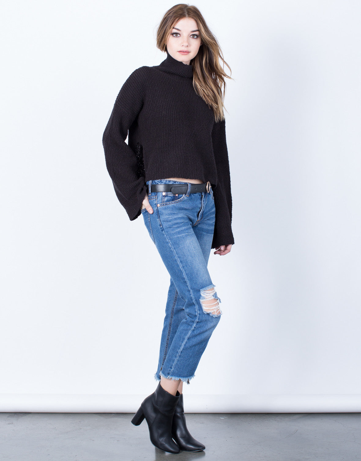 Side View of Bell Sleeve Turtleneck Sweater