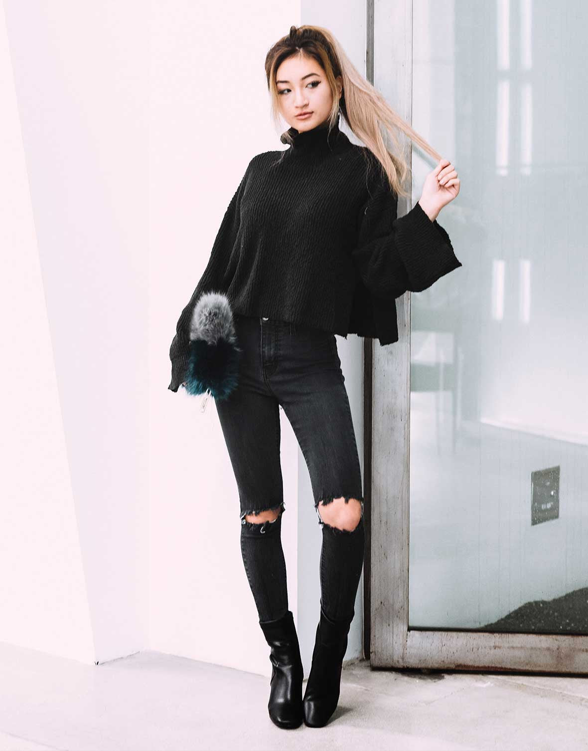Bell Sleeve Turtleneck Sweater