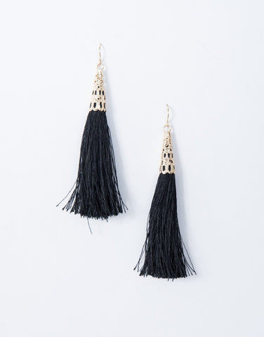 Black Belle Tassel Earrings - Front View