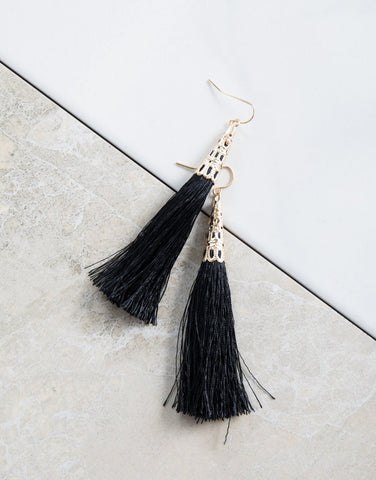 Black Belle Tassel Earrings - Detail