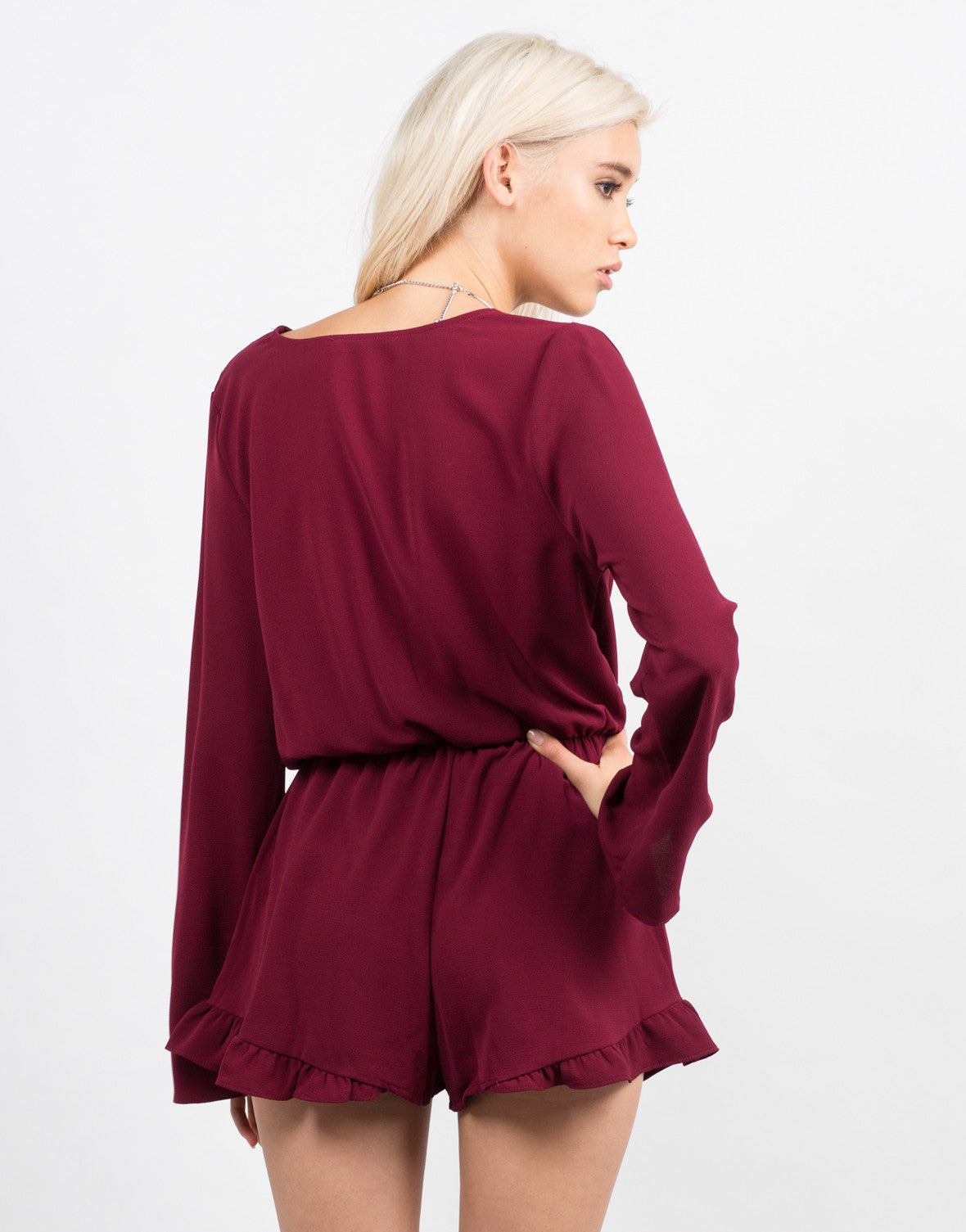Back View of Bell Sleeve Chiffon Romper