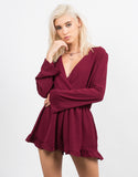 Front View of Bell Sleeve Chiffon Romper