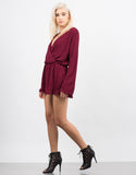Side View of Bell Sleeve Chiffon Romper