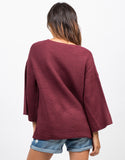 Back View of Bell Sleeve Knit Sweater