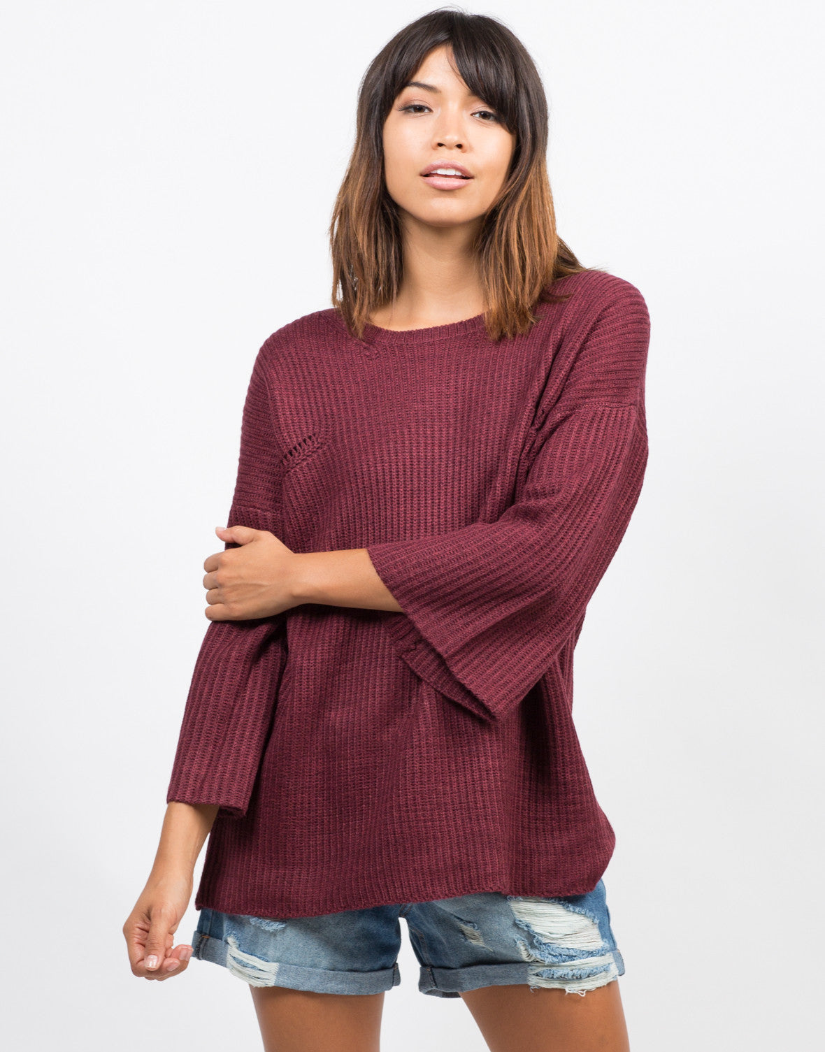 Front View of Bell Sleeve Knit Sweater