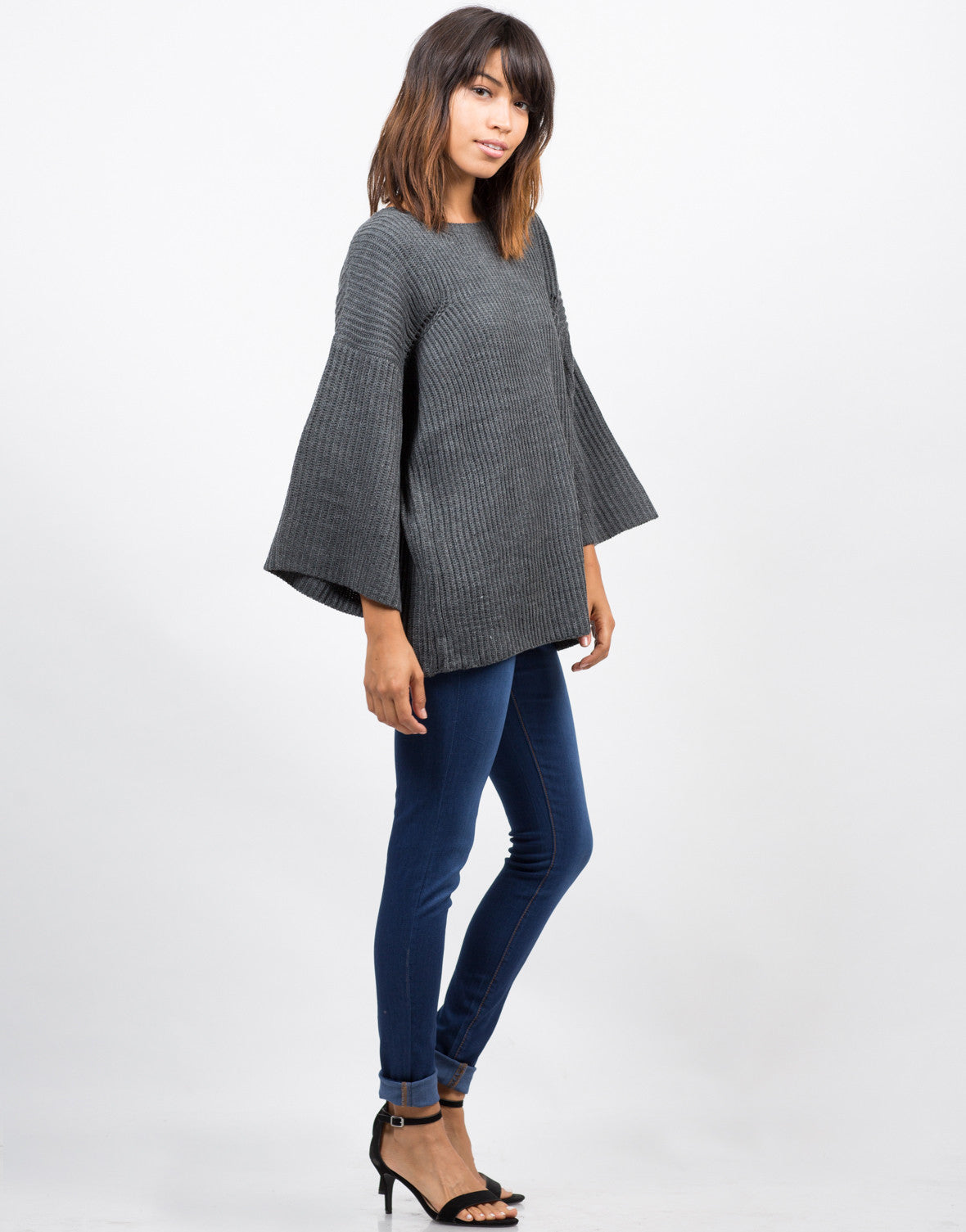 Side View of Bell Sleeve Knit Sweater