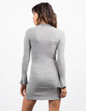 Back View of Bell Sleeve Ribbed Dress